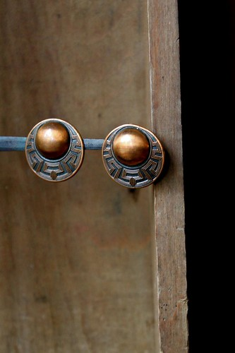 copper screw-back earrings by denise carbonell
