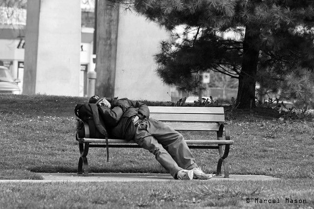 asleep on a bench