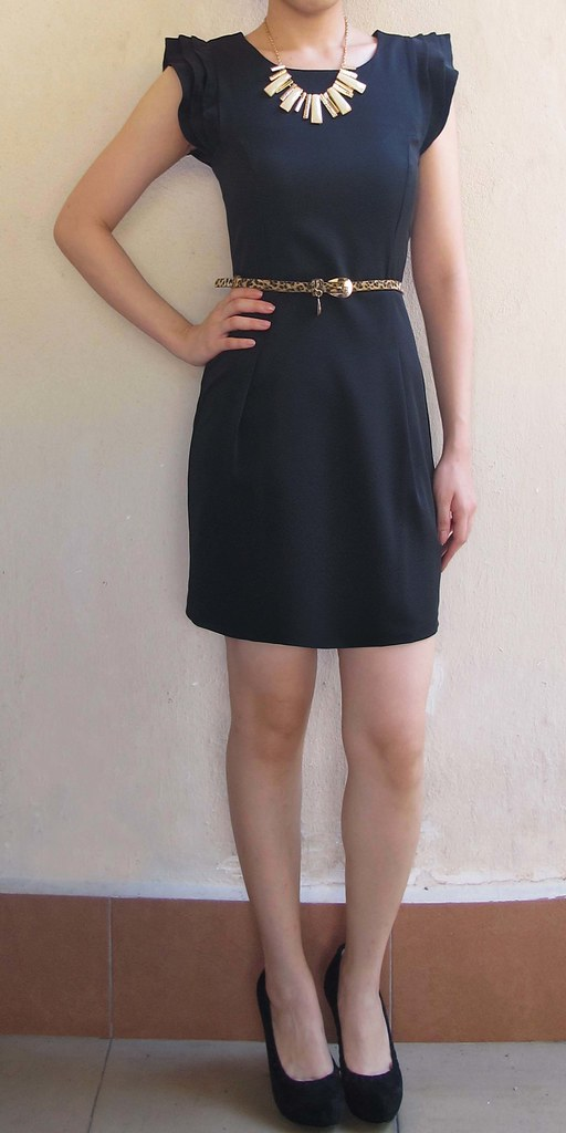 Shift Dress with Flutter Sleeves