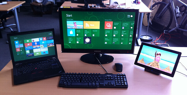 My Windows 8 Workstation Setup - a Laptop and a Slate with Full-Size Keyboard, Mouse and HD Display