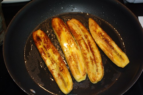 Frying Plaintains for Pastelon
