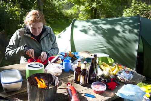 Alicia making supper