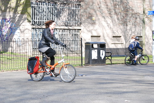 Orange folding bike
