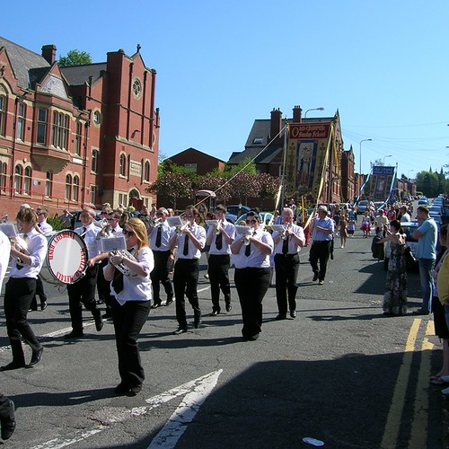 Tyldesley Band, leading Old Chapel Unitarian Church, Dukinfield