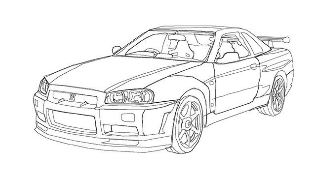 Nissan Gt R Coloring Pages