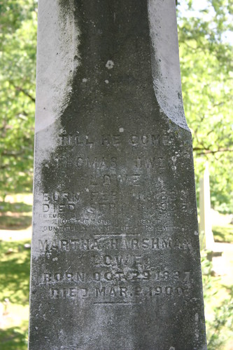 Thomas Owen Lowe and Martha (Harshman) Lowe on Harshman tombstone