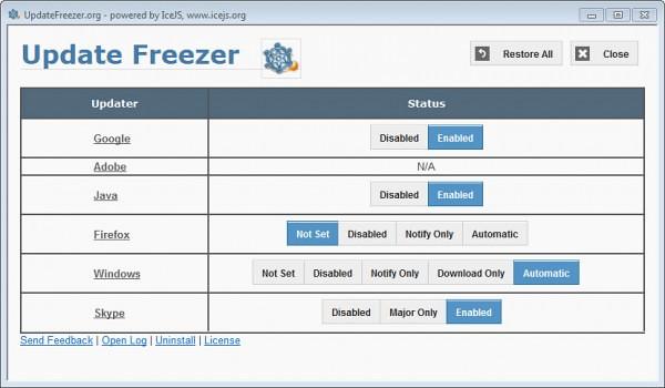 update freezer