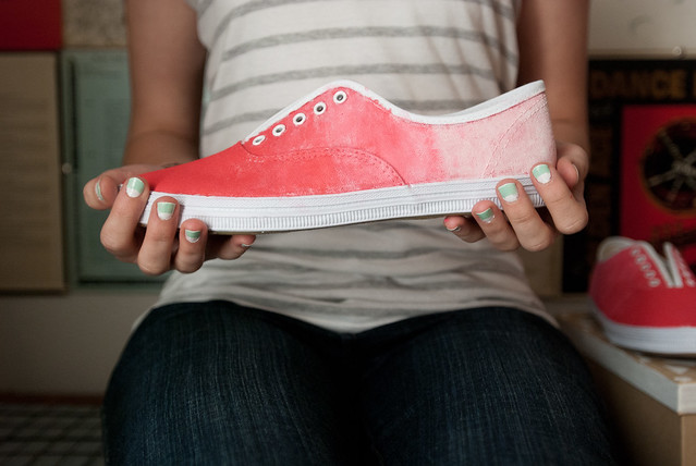 coral ombre canvas shoes