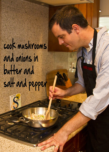 cook mushrooms and onions