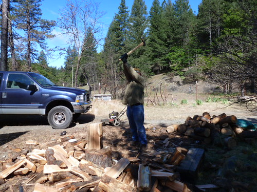 5-26-12 CA - Ruth Lake 12 Dave chopping wood