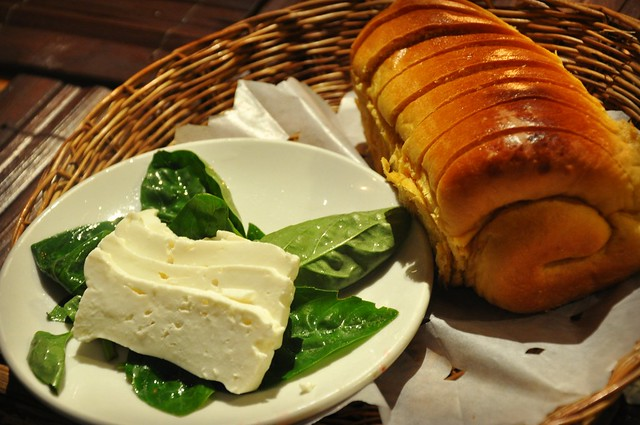Kamote Bread with Kesong Puti (White Cheese) and Basil