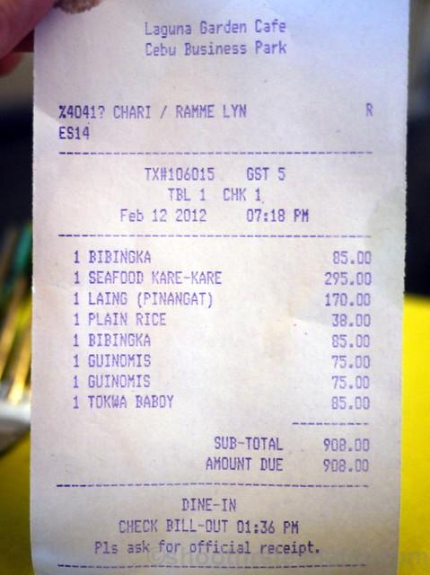Laguna Garden Cafe bill