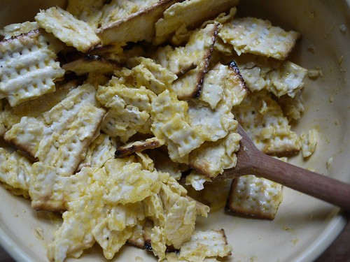 Matzo brei - Mixed with egg