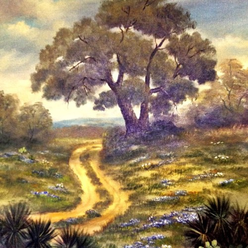 I love the Texas Hill Country. This is a painting someone donated to our church. Bluebonnets and Cactus. <3 #igtexas #iphonetx #Texas #Austin #art