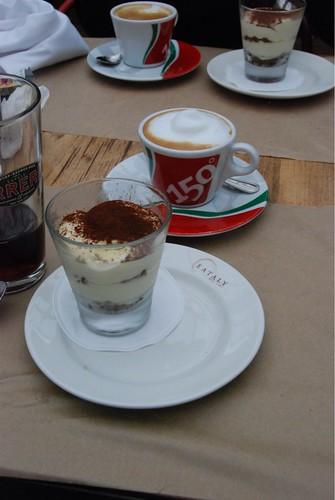 Tiramisu and cappuccino from Birreria