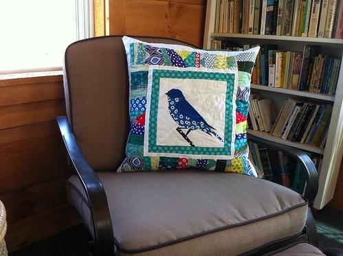 Finished Bluebird Pillow