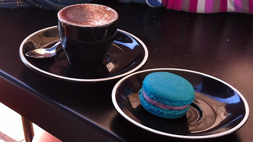 babycino and blueberry macaron