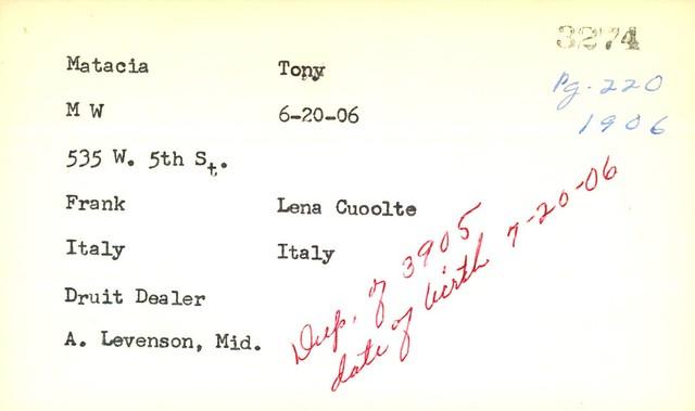 Tony Matacia Birth Record 1906