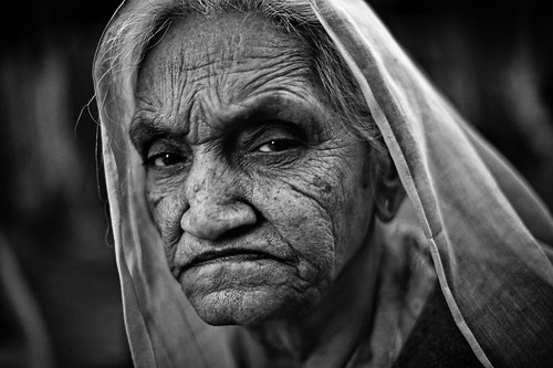 Angry looking old wrinkled woman