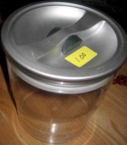 20120519 - yardsale booty - useful - jar - nice big plastic sealable jar - IMG_4215