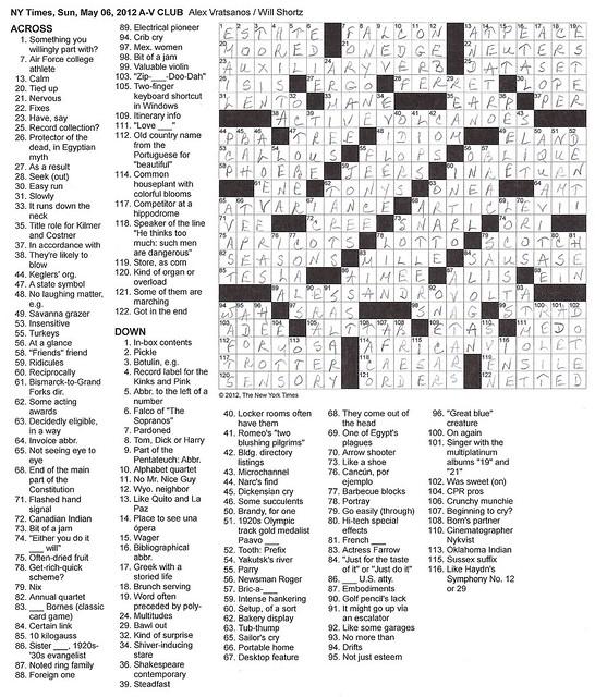 NYT Sunday Puzzle - May 6, 2012