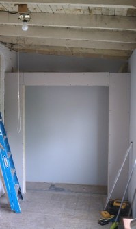 Closet framed and drywalled