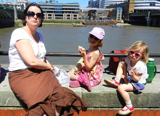 Mel, Millie & Amber sat by the Thames