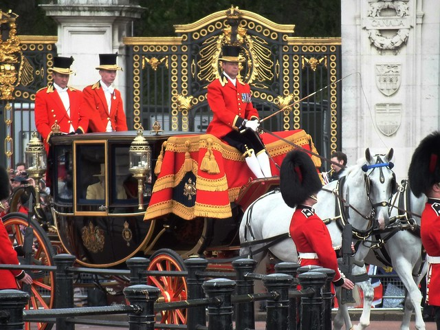 Queen Elizabeth II in carriage for Tropping of the colour