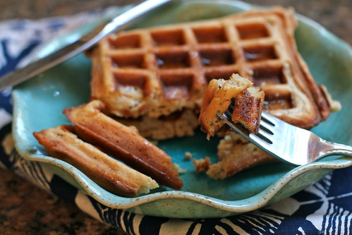 bite of maple oat waffle