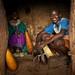 David Kinyaga and his mother in their boma