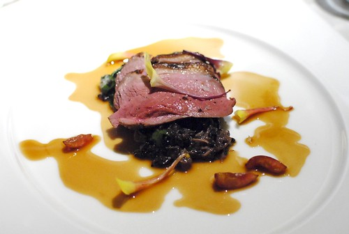 """Pan Roasted Duck Breast with Forbidden Rice and Foie Gras """"Risotto,"""" Pickled Ramps, Duck Confit, Cherry Jus"""