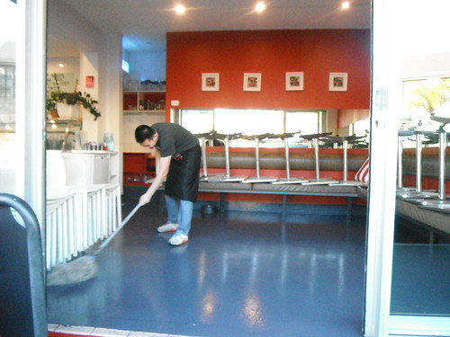 THE CAFE IS CLOSED AND THE CLEAN UP BEGINS