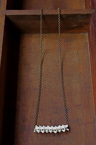 a bit of snake vertebrae on a brass chain by denise carbonell