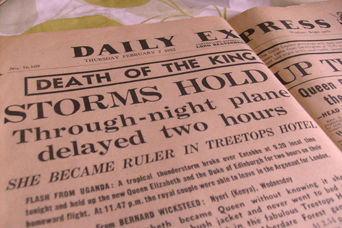 The Daily Express front page on Thursday February 7th, 1952.