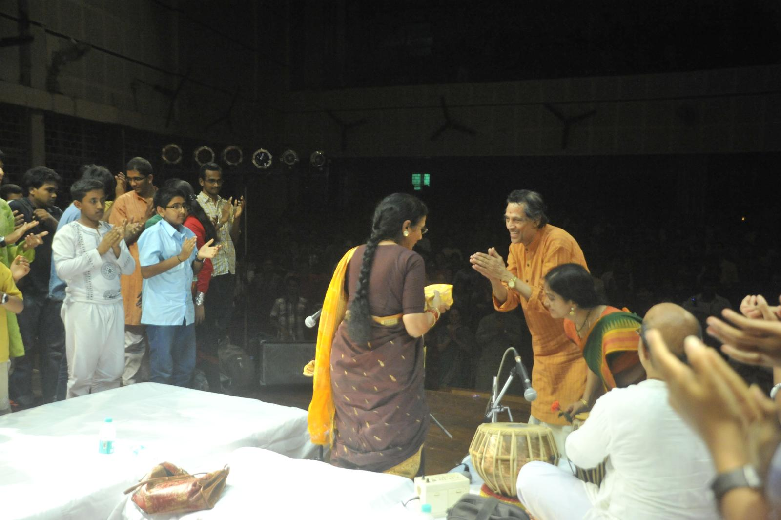 The kuchipudi gurus felicitating Dr. Rajam