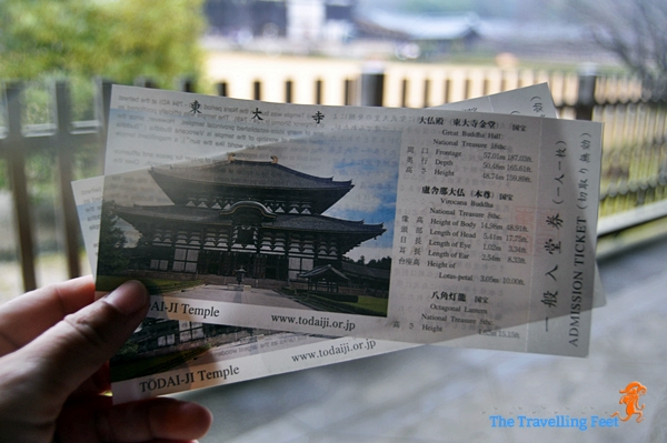 our entrance ticket to see the great buddhas of the Todaiji Temple