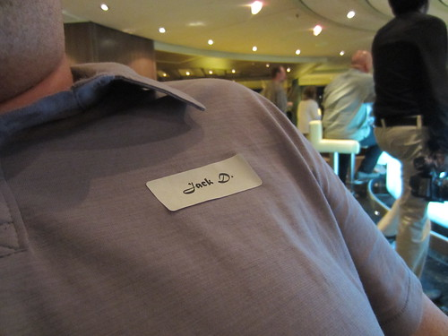 matt's nametag on the pub crawl