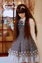 White moon blue strips with lace trim lolita dress