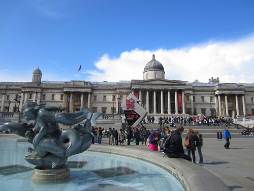 trafalgar square, with olympic countdown