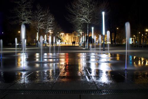 Wasserspiel mit Blick auf den Albertplatz