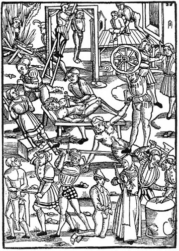 16th century depiction of torture. Via Wikimedia.