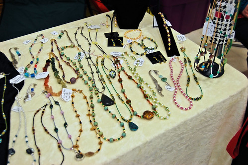 Bead necklaces and bracelets on display