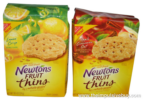 Nabisco Newtons Fruit Thins (Apple Cinnamon Oat and Lemon Crisp)