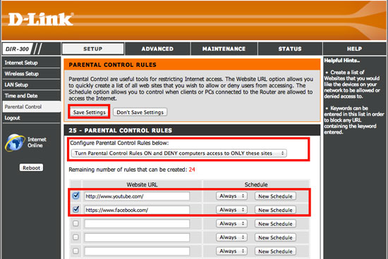 How to block websites using Dlink Router Step 3