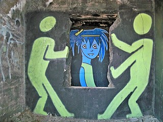 """Ghost Town Blue Girl: """"She puts her makeup on like graffiti on the walls of the heartland….""""  {EXPLORED}"""