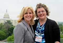 Alana Margeson with Rebecca Mielwocki with the nation's capitol in the background.