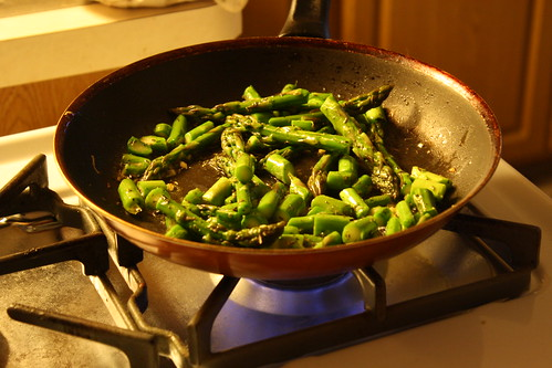 cooking up the asparagus, garlic and herbs de provence