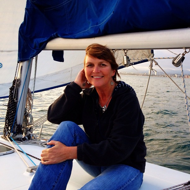 Me. On a boat.