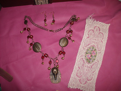 """""""King Tut"""" necklace and lace insert"""