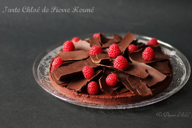 Chocolate and raspberry tart